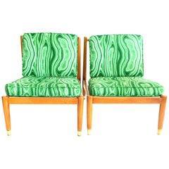 Mid-Century Modern Swedish Pair of Beechwood Slipper Chairs-Signed