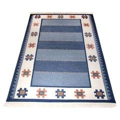 Mid-Century Modern Swedish Rolakan, Flat-Weave Kilim Rug