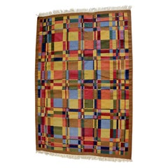 Mid-Century Modern Swedish Scandinavian Flat Weave Wool Area Rug, 1960s