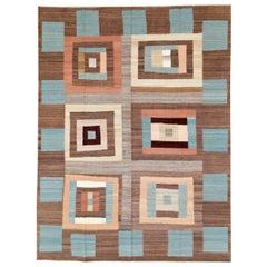 Mid-Century Modern Swedish Style Geometric Room Size Flat-Weave Carpet