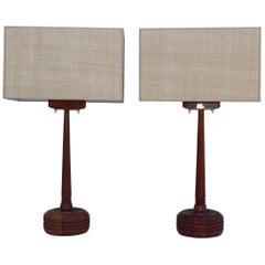 Mid-Century Modern Swedish Teak Table Lamps