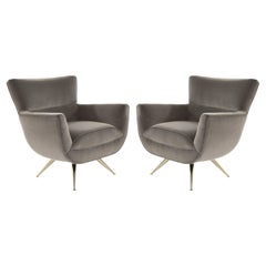 Mid-Century Modern Swivel Chairs by Henry Glass in Grey Velvet