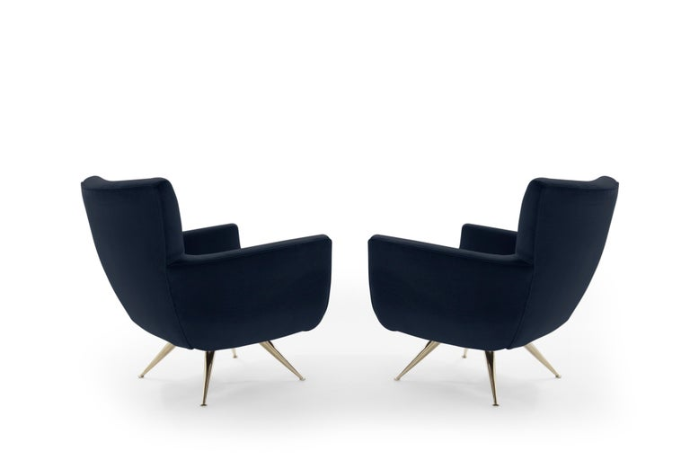 Mid-Century Modern Swivel Chairs by Henry Glass in Navy Velvet In Excellent Condition For Sale In Stamford, CT