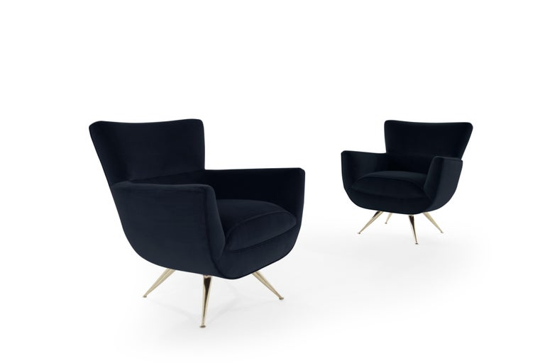 20th Century Mid-Century Modern Swivel Chairs by Henry Glass in Navy Velvet For Sale
