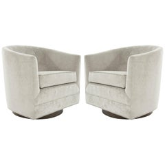 Mid-Century Modern Swivel Chairs in Taupe Velvet