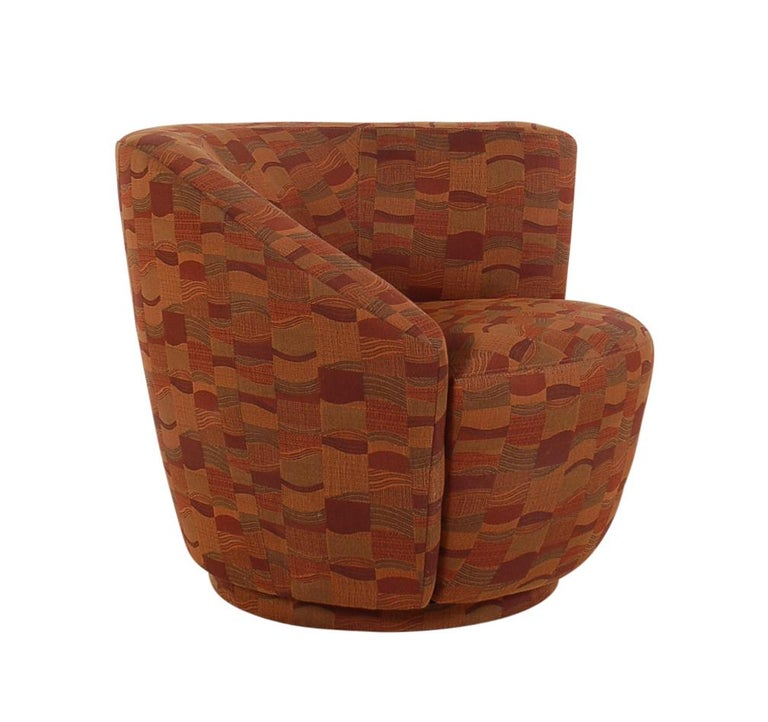 Fabric Mid-Century Modern Swivel Club Lounge Chairs by Vladimir Kagan for Weiman For Sale