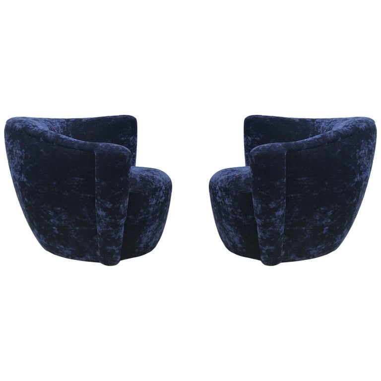 Mid-Century Modern Swivel Club Lounge Chairs by Vladimir Kagan in Blue Velvet For Sale