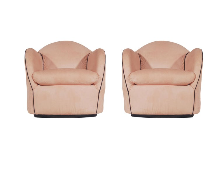 Suede Pair of Mid-Century Modern Swivel Club Lounge Chairs in Art Deco Form / 4 Avail. For Sale