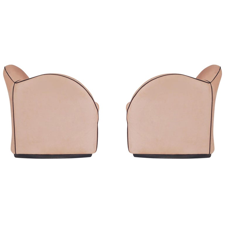 Pair of Mid-Century Modern Swivel Club Lounge Chairs in Art Deco Form / 4 Avail. For Sale