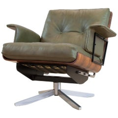 Mid-Century Modern Swivel Lounge Chair in Green Leather and Bent Wood, 1960s