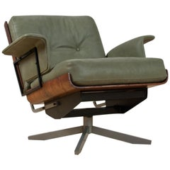 Mid-Century Modern Swivel Lounge Chair in Green Leather and Rosewood, 1960s