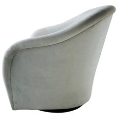 Mid-Century Modern Swivel Lounge Chair in Grey Suede, 1970s