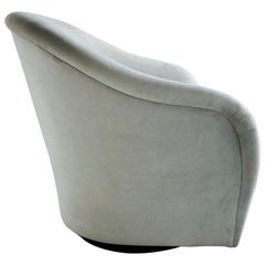 Mid-Century Modern Swivel Lounge Chair in Grey Velvet, 1970s