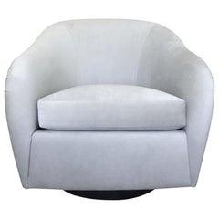 Mid-Century Modern Swivel Lounge Chair in Grey Velvet by Milo Baughman, 1970s
