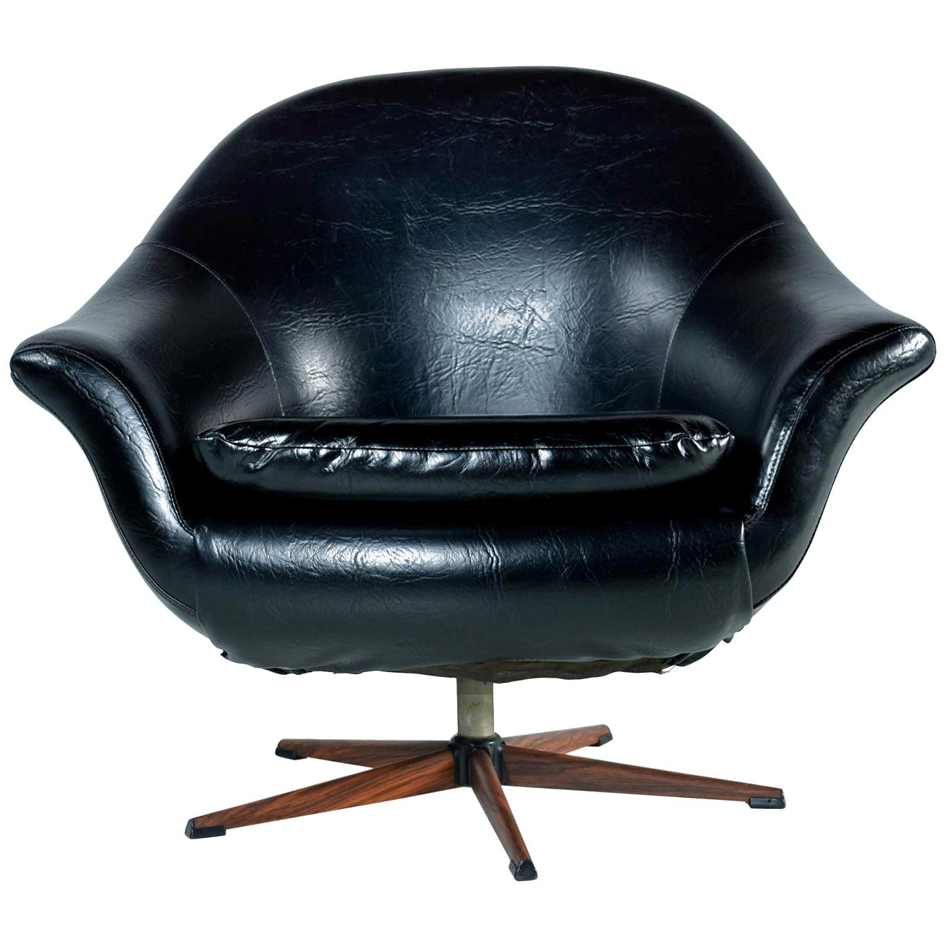 Mid Century Modern Swivel Pod Chair With Rosewood Base By Burris