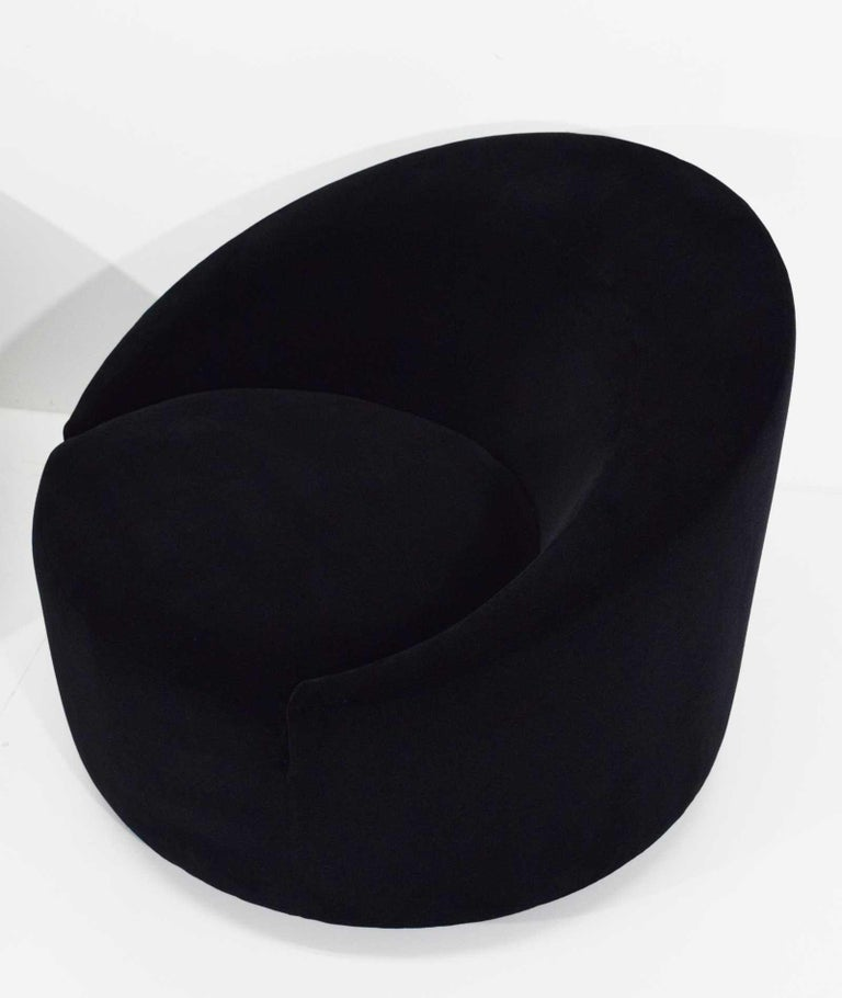 Mid-Century Modern Swivel Tub Chairs in Black Mohair For Sale 6