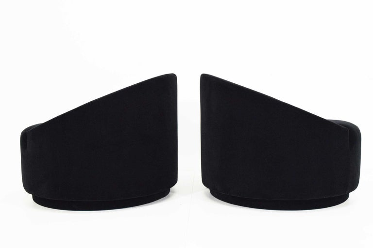 20th Century Mid-Century Modern Swivel Tub Chairs in Black Mohair For Sale