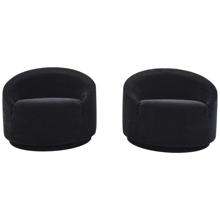 Mid-Century Modern Swivel Tub Chairs in Black Mohair For Sale