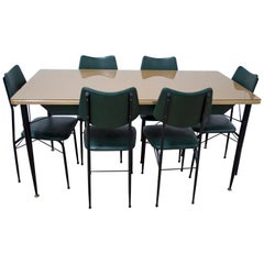 Mid-Century Modern Table and Six Chairs Italian Dining Set, 1950s