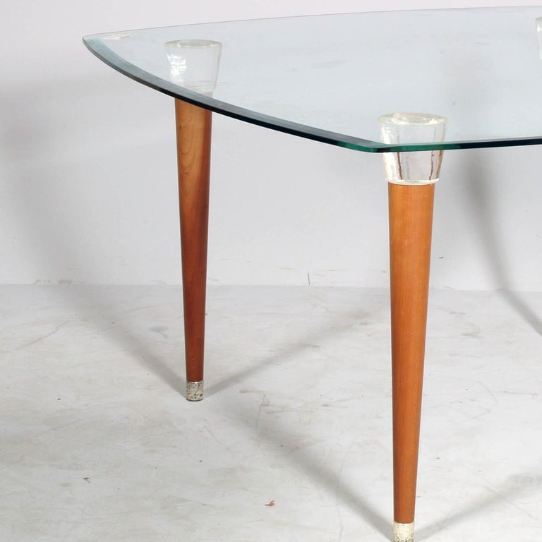Italian Mid-Century Modern Table, Glass Top, Walnut Turned Legs and Heads Murano Glass For Sale