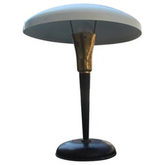 Mid-Century Modern Table Lamp Brass Metal Lacquered Italian Design White Black