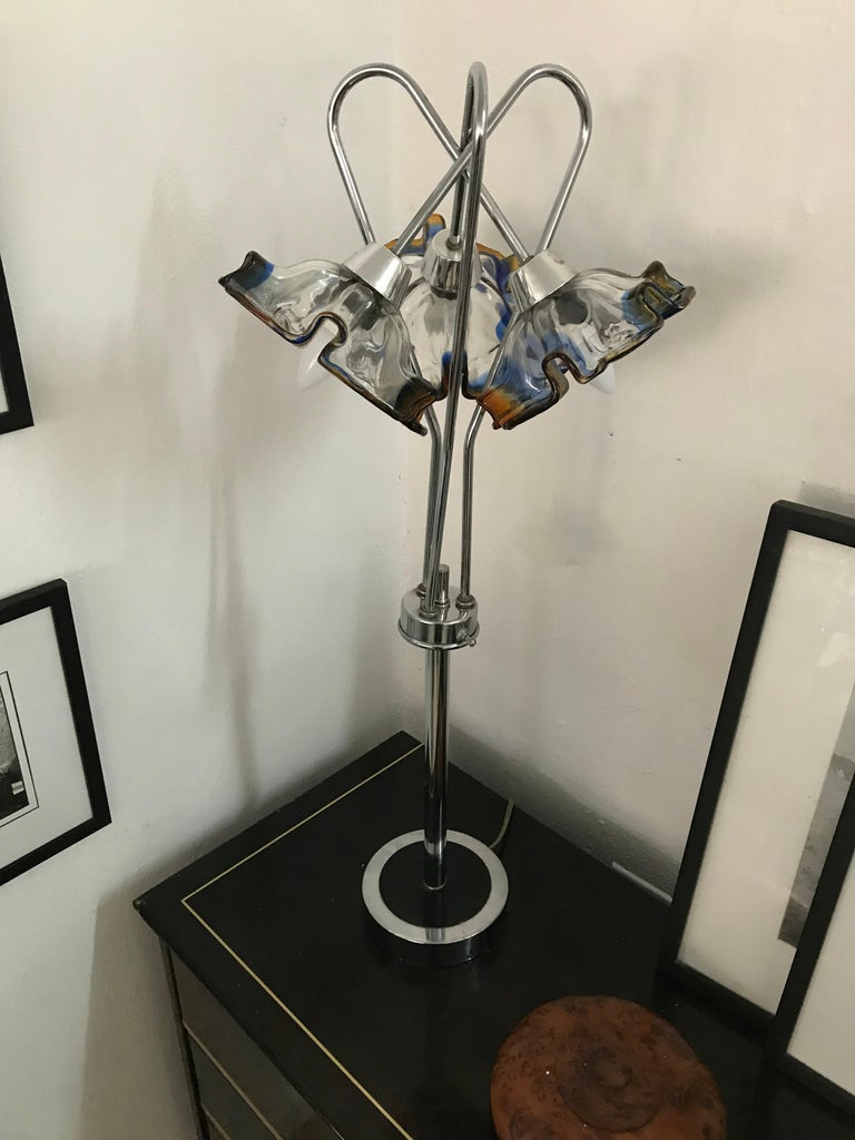Mid-Century Modern Table Lamp by Mazzega in Murano Glass and Chrome, circa 1970 For Sale 7