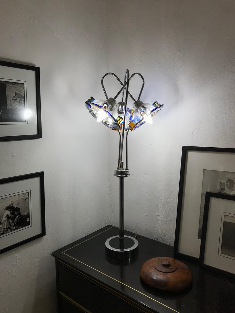 Mid-Century Modern Table Lamp by Mazzega in Murano Glass and Chrome, circa 1970 For Sale 4