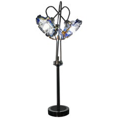 Mid-Century Modern Table Lamp by Mazzega in Murano Glass and Chrome, circa 1970