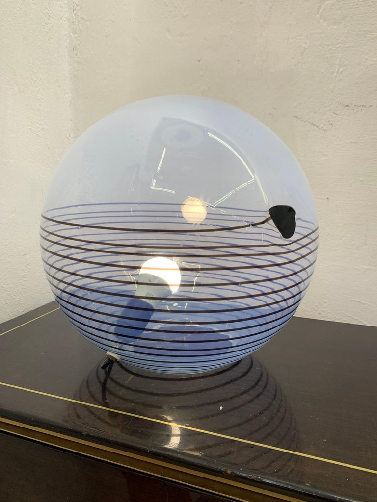 Space Age table lamp in hand blow blue opalescent Murano glass circa 1960, attributed to Mazzega.