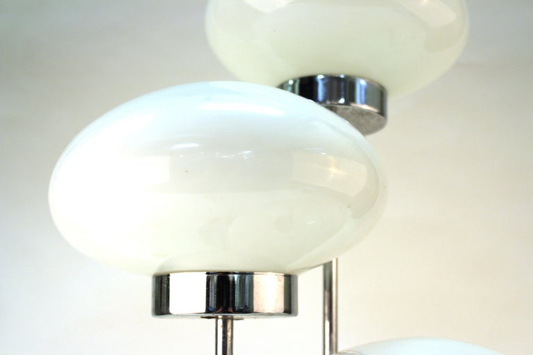 Glass Mid-Century Modern Table Lamp in Chrome with Domed Lights For Sale