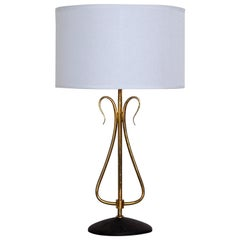 Mid-Century Modern Table Lamp in Solid Brass by Arlus, France 1950s