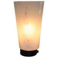 """Mid-Century Modern Table Lamp Murano Blown White Glass with Pink """"Murrine"""""""