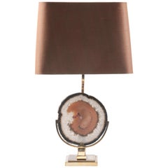 Mid-Century Modern Table Lamp with Agate Attributed to Willy Daro