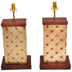 Mid-Century Modern Table Lamps Bronze and Leather