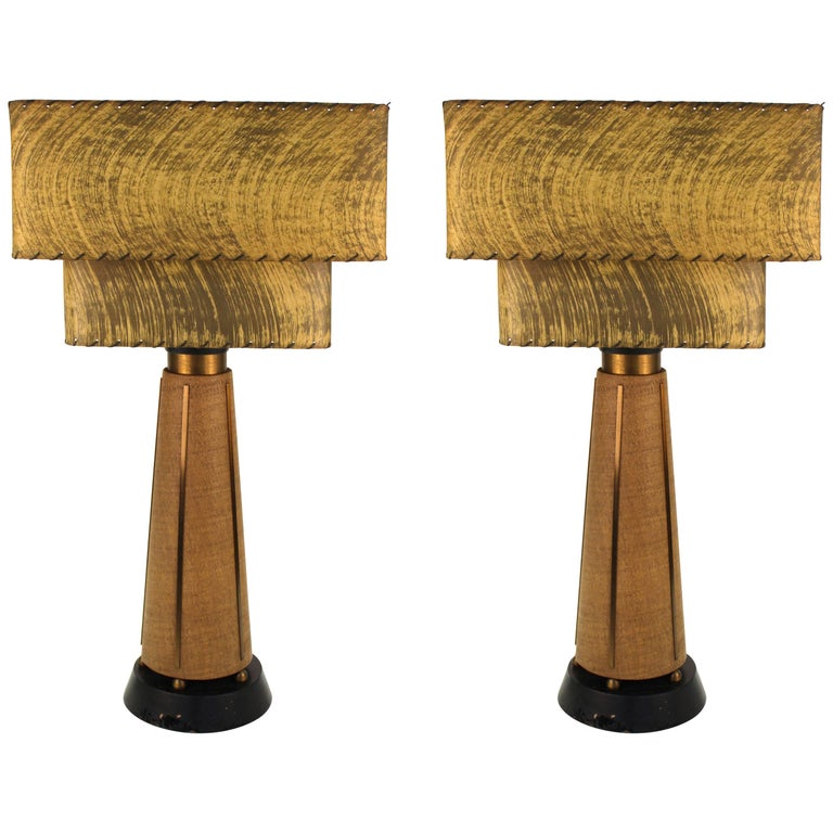 Mid-Century Modern Table Lamps with Shades For Sale