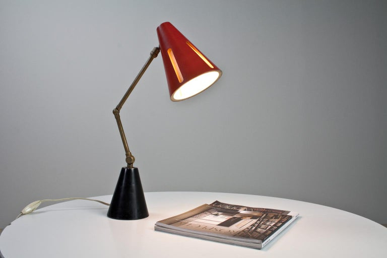 Lacquered Mid-Century Modern Table Light Red and Black by Busquet Hala Sun Series, 1955 For Sale