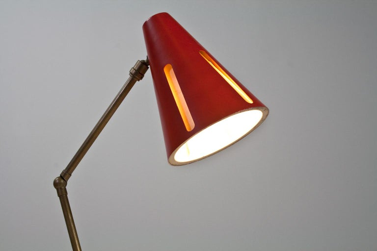 Mid-Century Modern Table Light Red and Black by Busquet Hala Sun Series, 1955 In Good Condition For Sale In Beek en Donk, NL