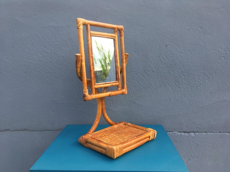 Bamboo Mid-Century Modern Table Mirror For Sale
