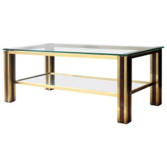 Mid-Century Modern Table with Brass and Wood Structure, France, 1970