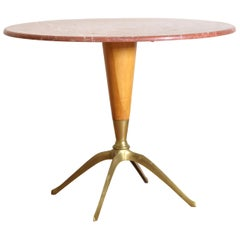 Mid-Century Modern Table with Marble Top