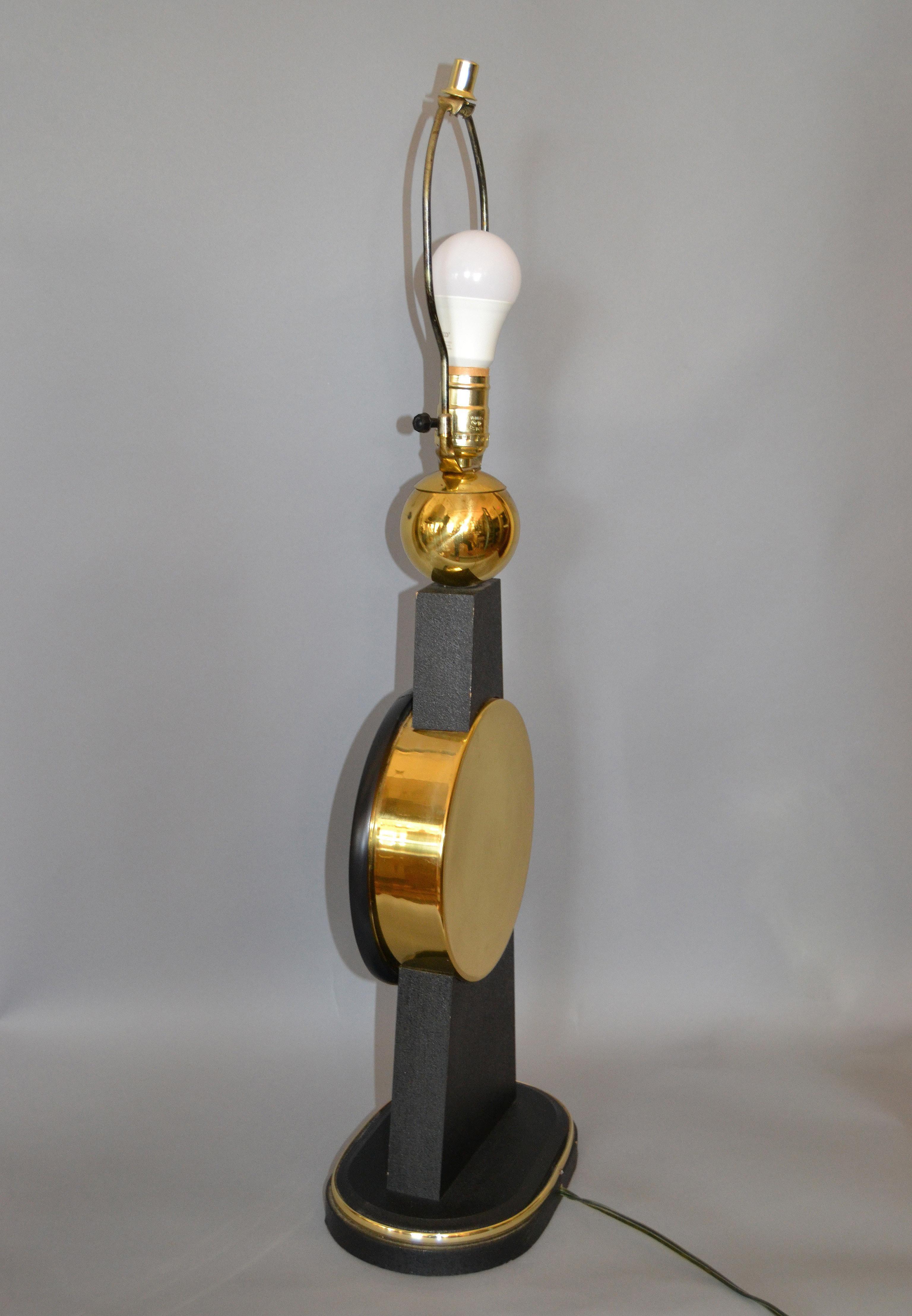 Mid Century Modern Tall Brass, Glass