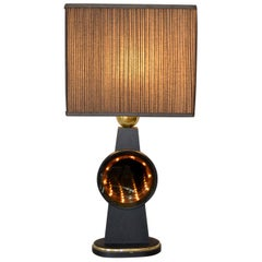 Mid-Century Modern Tall Brass, Glass, Wood Infinity Table Lamp in Black and Gold
