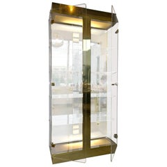 Mid-Century Modern Tall Lucite, Mirror and Gold Tone Metal Cabinet with Lighting