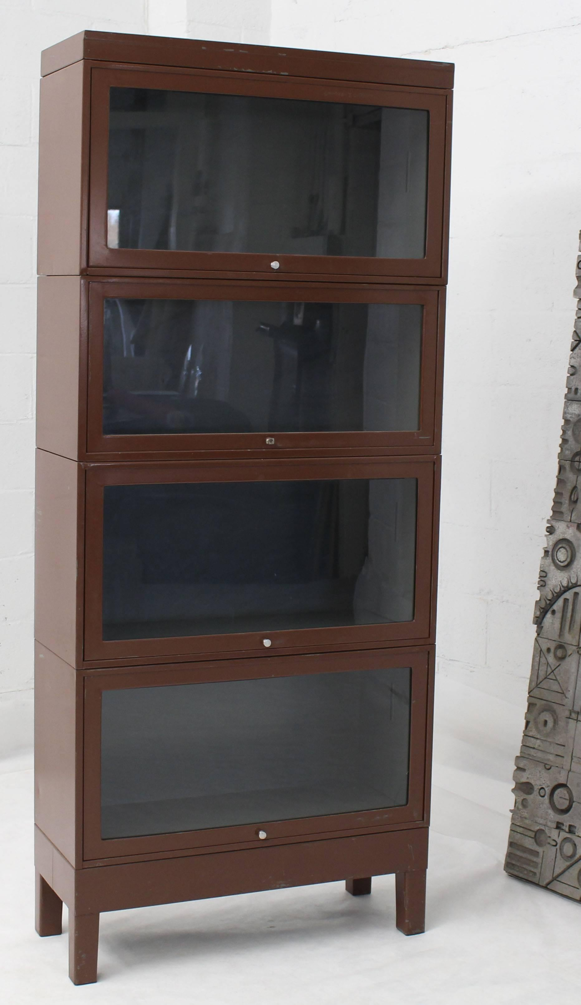 Mid Century Modern Tall Metal Six Sections Barrister Bookcase Cabinet