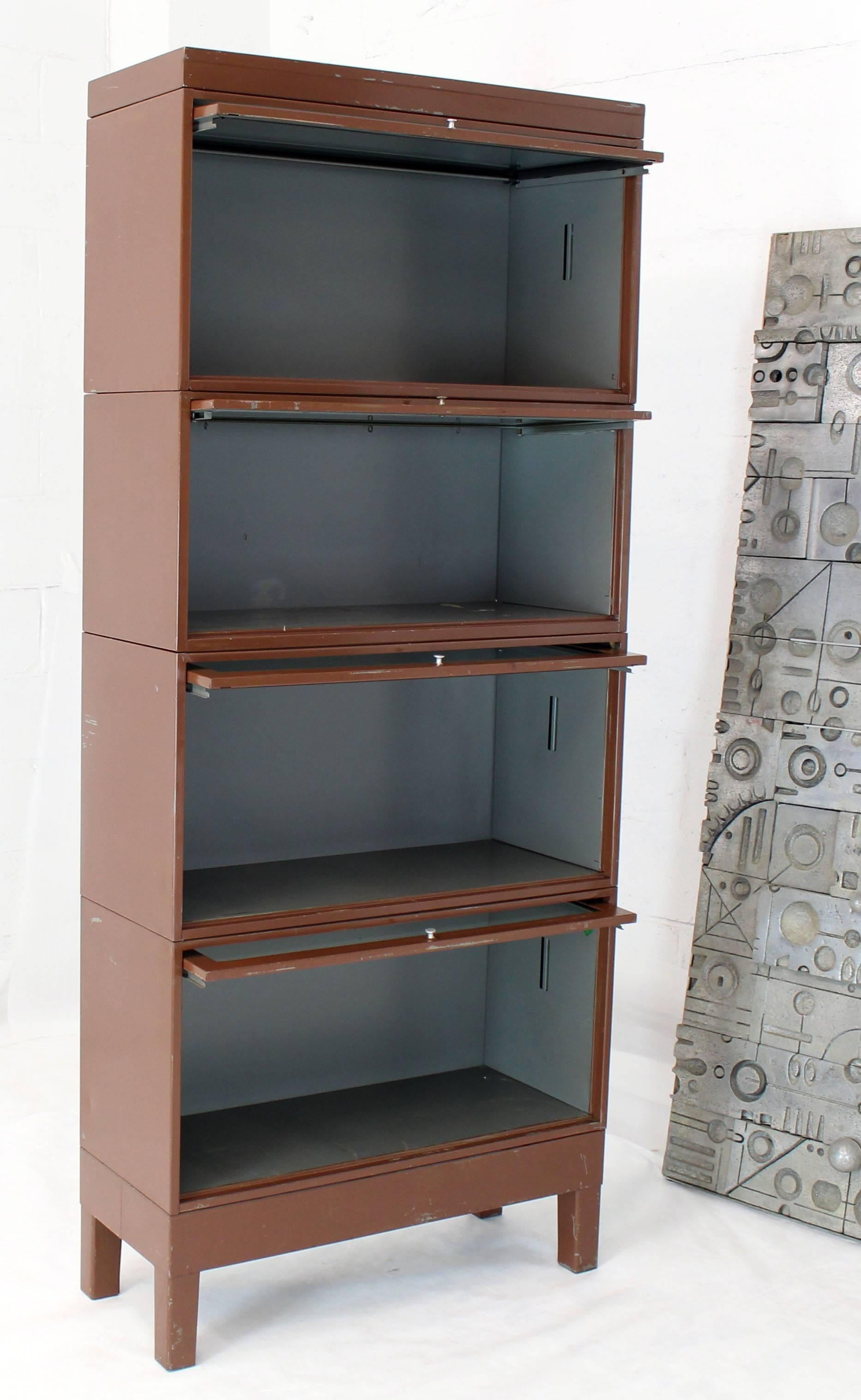 Mid Century Modern Tall Metal Six Sections Barrister Bookcase Cabinet For Sale At 1stdibs