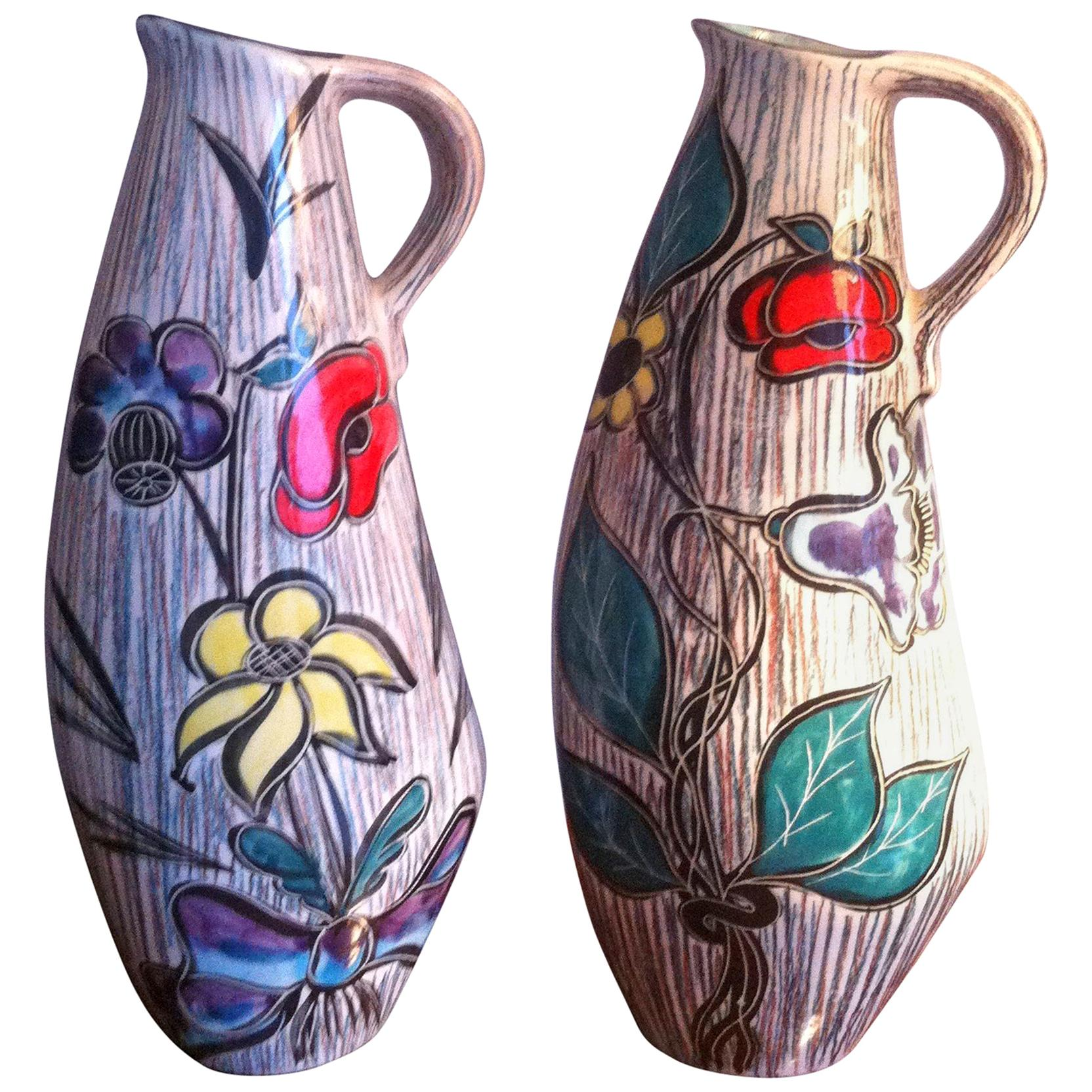 Mid-Century Modern, Tall Pair of Ceramic French Pitchers Vase Signed Vallauris