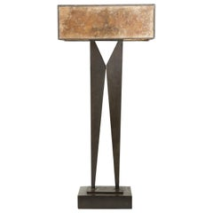 Mid-Century Modern Tall Sculpture Table Lamp with Mica Shade