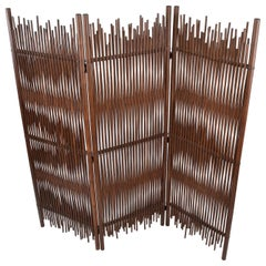 Mid-Century Modern Tall Solid Bamboo Wood Room Divider/Screen/Partition, Italy