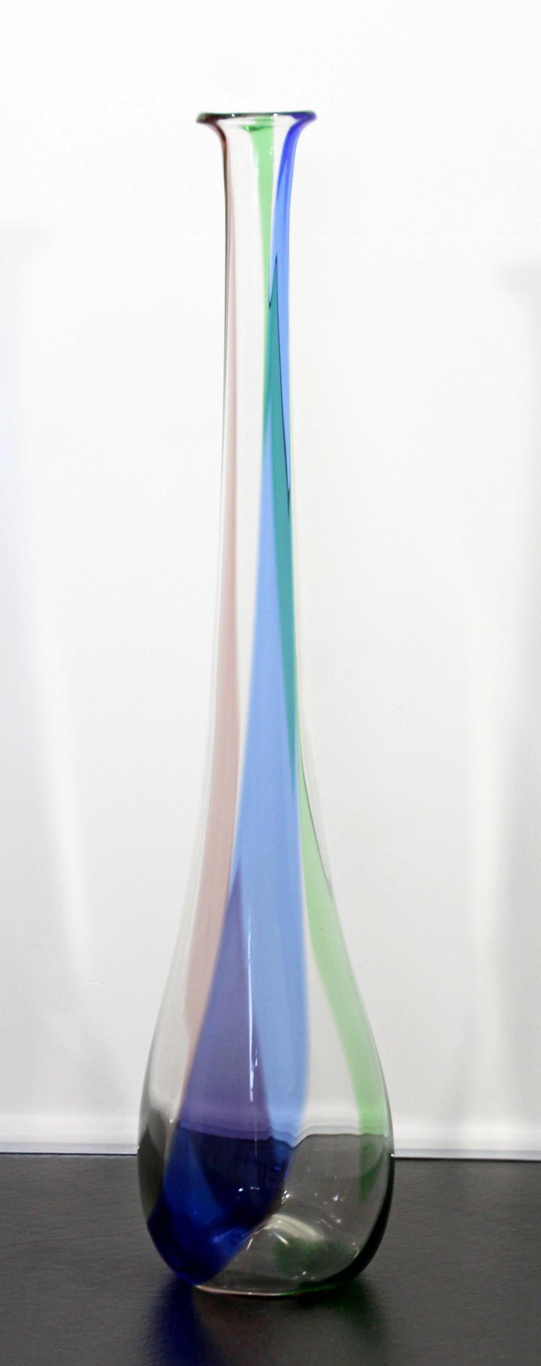 Mid Century Modern Tall Tri Colored Murano Glass Art Vase 1970s Italy Green Blue For Sale At 1stdibs