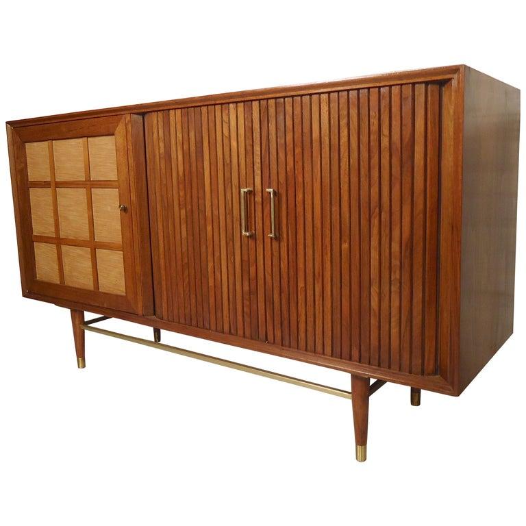 Mid-Century Modern Tambour Door Cabinet For Sale